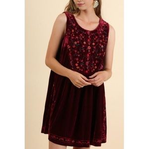 Umber velvet burgundy baby doll dress NWT
